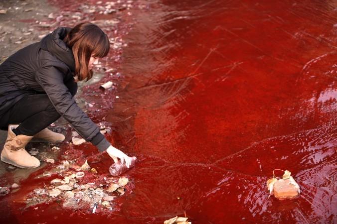 Женщина берёт образец красной воды, вытекающей из канализации в реку Цзянь в Лояне, провинция Хэнань, Китай, 2011 год. Фото: STR/AFP/Getty Images