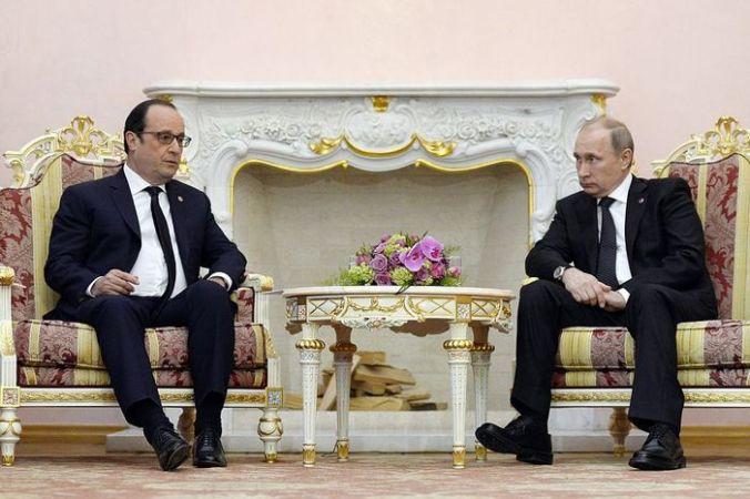 Президент Франции Франсуа Олланд и президент РФ Владимир Путин.  Фото: ALAIN JOCARD/AFP/Getty Images