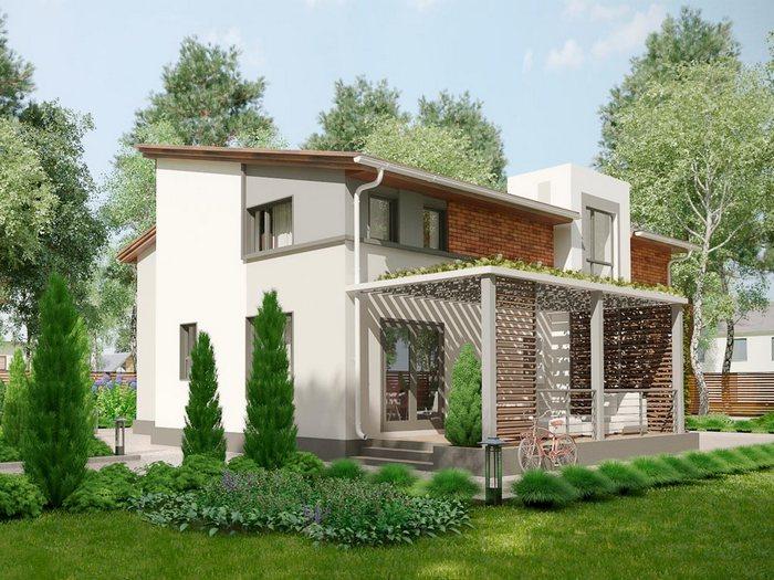 Дом, построенный по технологии БЭНПАН. Проект МС-238 (боковой фасад). Фото: benpan.ru/БЭНПАН