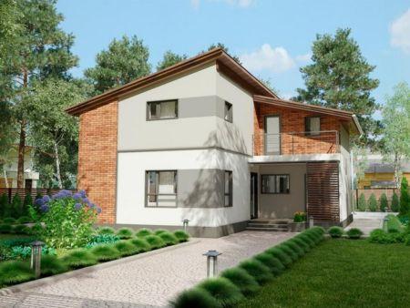Дом, построенный по технологии БЭНПАН. Проект МС-238 (главный фасад). Фото: benpan.ru/БЭНПАН