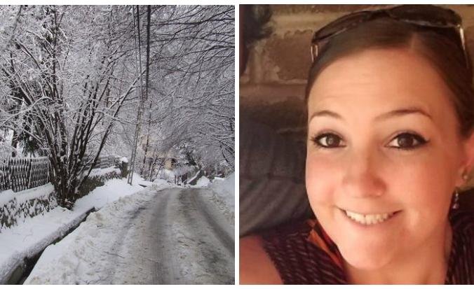 женщина, улыбка, снег, дорога, зима