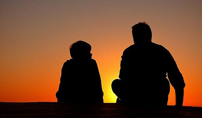 закат, отец, сын, беседа