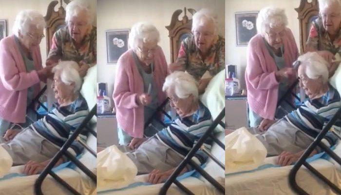 90-летние старушки причёсывают 97-летнюю сестру. Трогательное видео посмотрели 33 млн раз (видео)