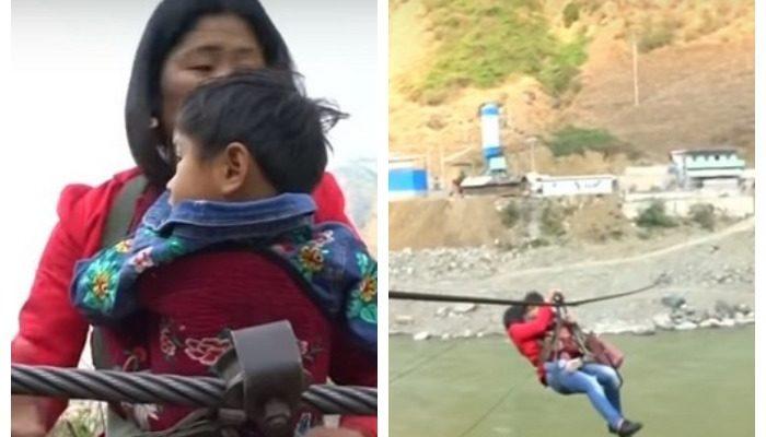 (Видео) Стальной трос вместо моста. Так жители 30 китайских деревень связаны с городом