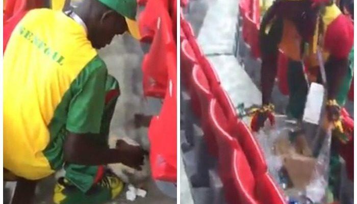 (Видео) Болельщики Сенегала очистили трибуны от мусора после матча их сборной с Польшей на ЧМ-2018