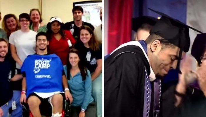Студента парализовало во время игры в футбол. Через несколько лет он поразил всех, когда встал с кресла, чтобы получить диплом