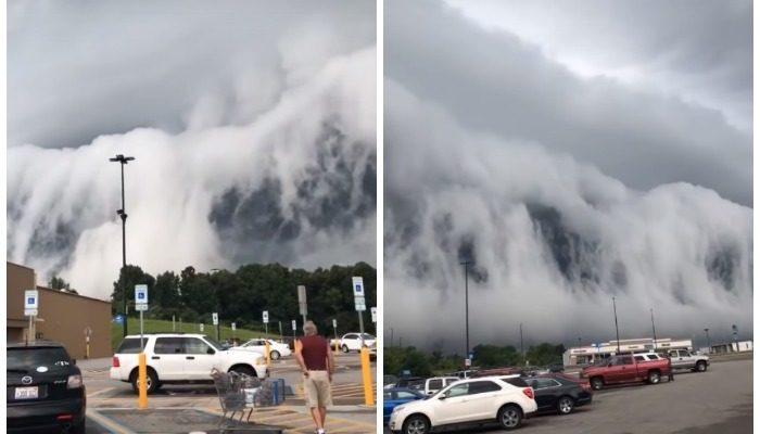 (Видео) Гигантская стена из облаков возникла рядом с озером в США