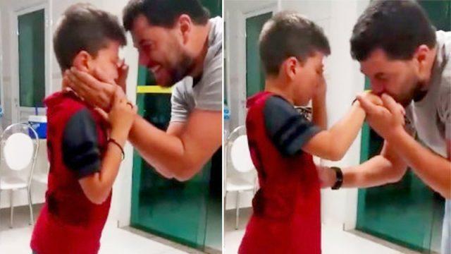 (Видео) Глухой мальчик разрыдался, когда услышал голос отца. Эта сцена стала лучшей наградой для соседей, собравших деньги на ремонт слухового аппарата
