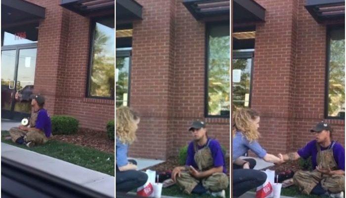 Предприимчивый бродяга продавал диски у входа в ресторан. Его не прогнали, а вежливо попросили уйти и угостили обедом
