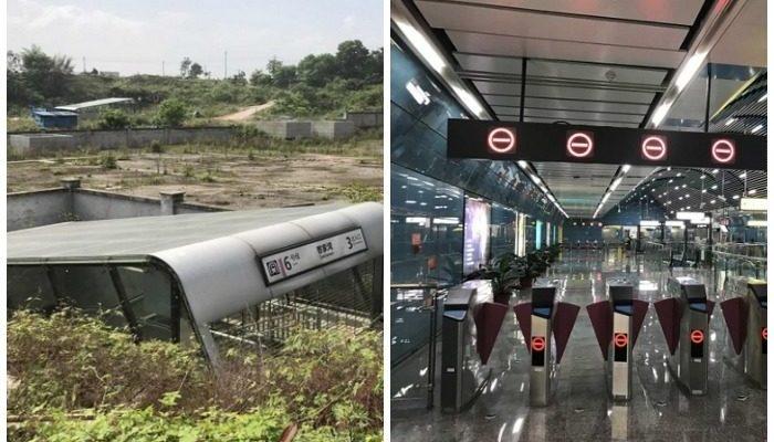 Самая одинокая в мире станция метро расположена в Китае, на пустыре, вдали от дорог и коммуникаций