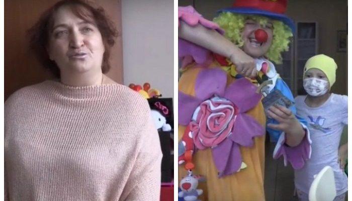 Она надевает костюм клоуна и едет веселить больных раком детей. Ведь когда-то дети помогли ей справиться с этим недугом