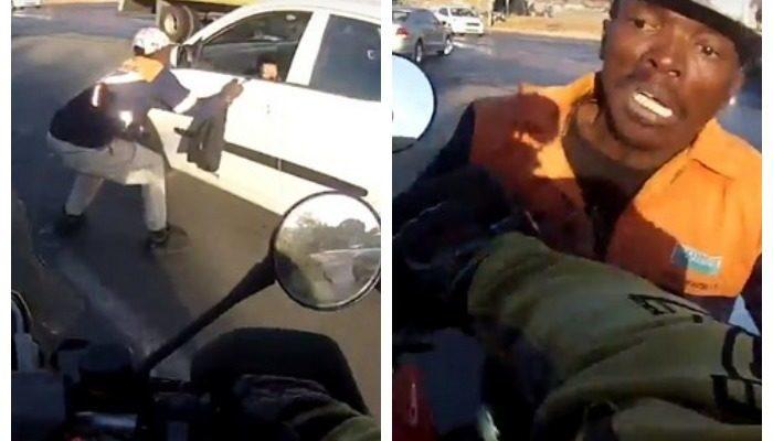 (Видео) Байкер наехал на грабителя и помешал ему скрыться с украденной сумкой