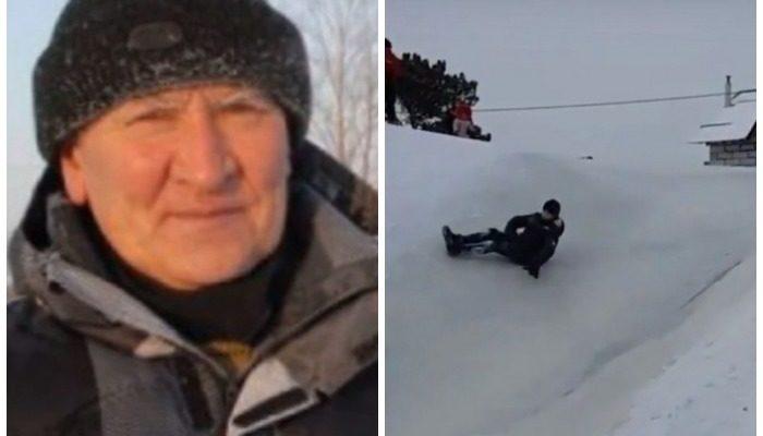 Дедушка Слава бесплатно строит ледяные горки, на которых собираются до 500 человек