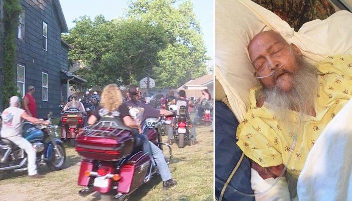 (Видео) Умирающий хотел услышать рёв мотоцикла «Харли-Дэвидсон» в последний раз, поэтому более 100 байкеров приехали к его дому