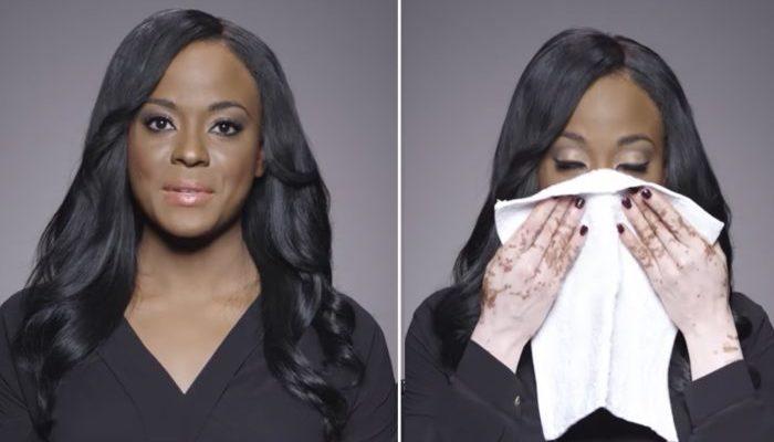 Женщина показала своё истинное лицо, сняв густой макияж, чтобы поддержать таких же, как она