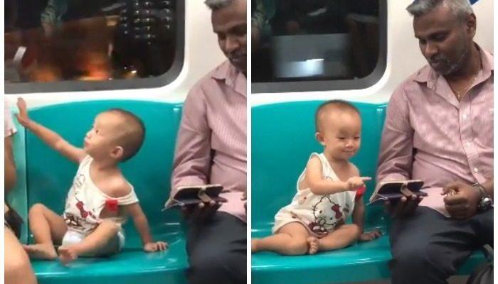 (Видео) Мужчина успокоил чужого малыша в метро и покорил пользователей сети