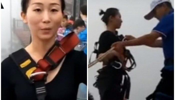 (Видео) Китаянка каждый день прыгает с 300-метровой тарзанки, чтобы доставить обеды коллегам!