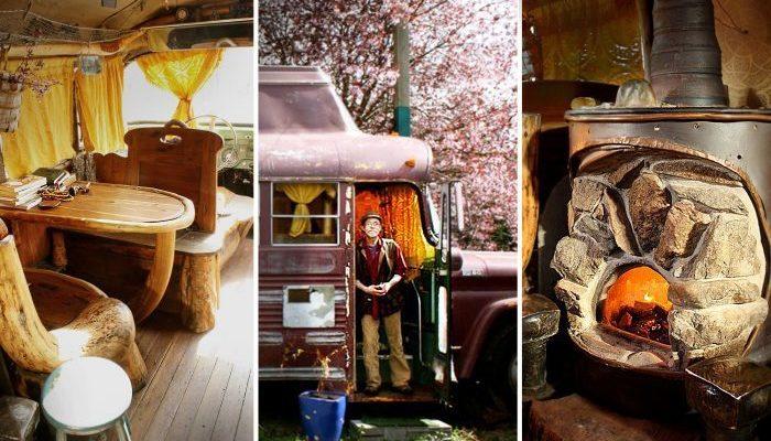 Пенсионер превратил старый разбитый автобус в уютную «дыру Хоббита» на колёсах, чтобы прожить на маленькую пенсию