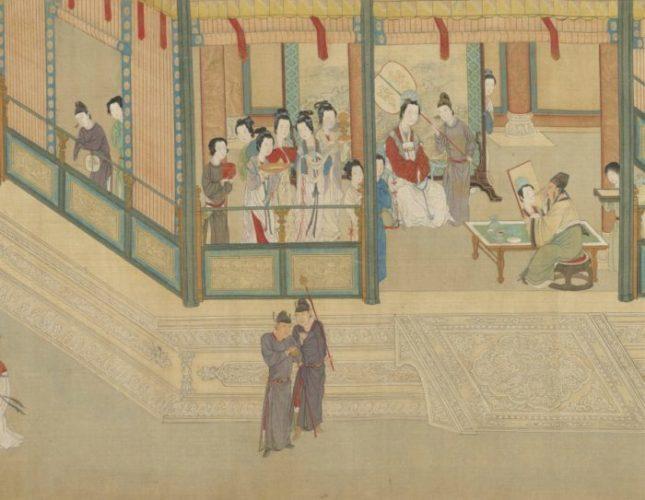 Придворный художник Мао Яншоу рисует Ван Чжаоцзюнь. «Весеннее утро во дворце Хань», Цю Ин