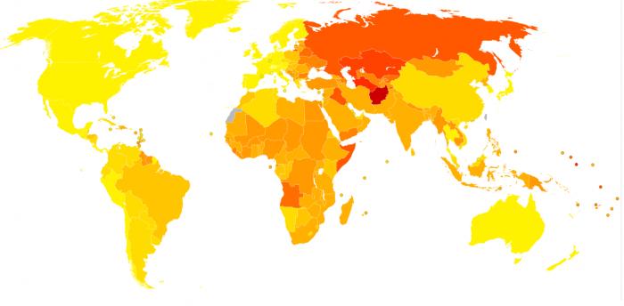 карта заболеваний сердца