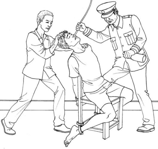 Иллюстрация насильственного кормления, одного из методов пыток используемых в китайских трудовых лагерях и тюрьмах