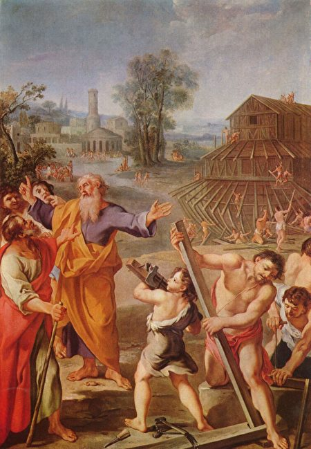 Картина неизвестного художника «Строительство Ноева ковчега»