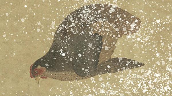рисунок курицы, замёрзшей в снегу