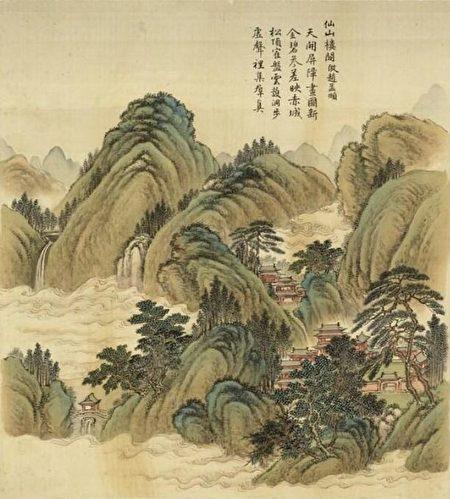 «Павильон на горе бессмертных» Чжоу Кун, династия Цин