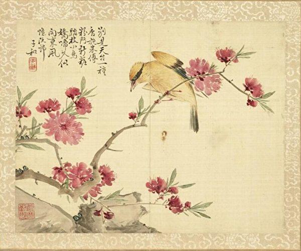 «Китайская иволга и цветы персика», Лю Дэлю, династия Цин