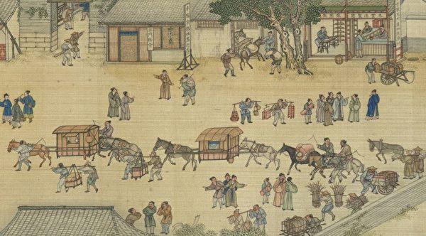 Фрагмент свитка Чжан Цзэдуаня «По реке в день поминовения усопших»