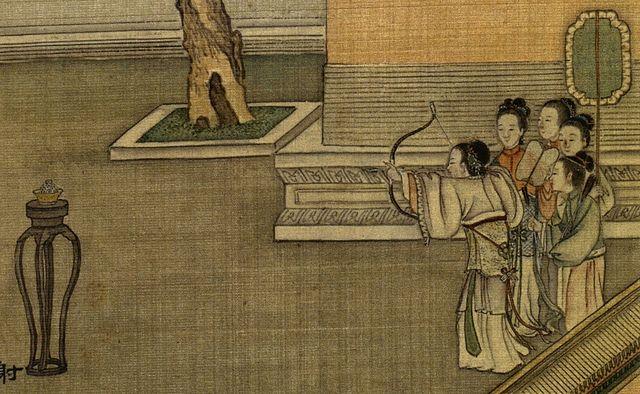Картина «Стрельба из рисового теста», художник Сюй Ян, династия Цин