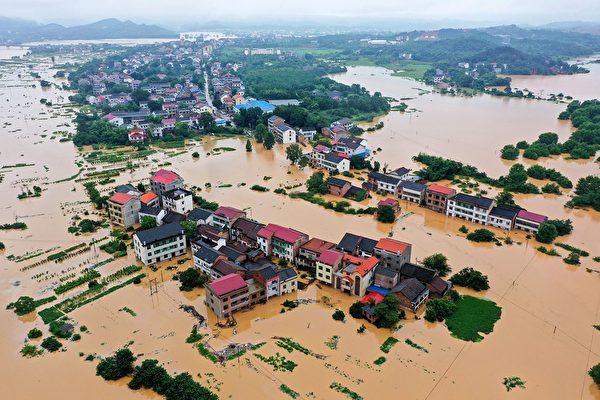 затопленные здания в Хэнъяне, Китай.