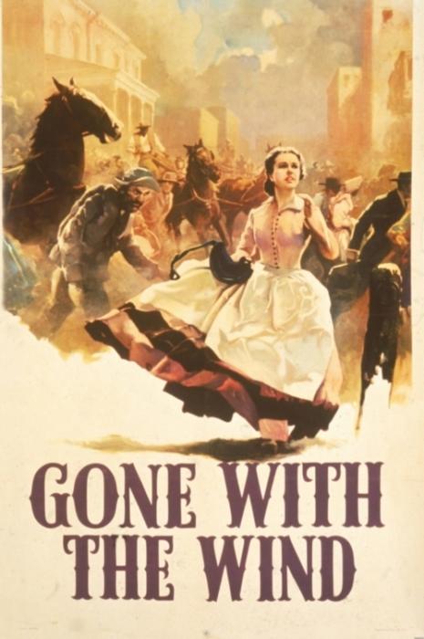 Скарлетт О'Хара бежит по улице. Рекламный плакат к книге «Унесённые ветром» 1936 года