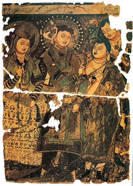 Портрет царя государства Куча Тотика и царицы в пещере Кэцзыэр