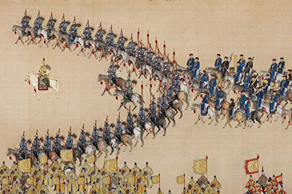 Император династии Цин осматривает знамённые войска