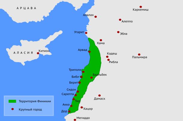 Баальбек на карте Древней Финикии