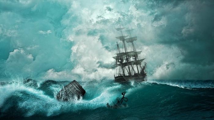 парусник в штормовом море