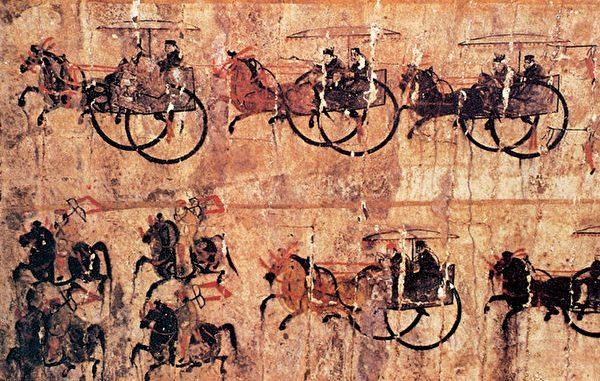 Колесницы c лошадьми на фреске династии Восточная Хань
