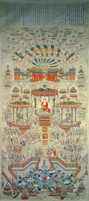 «Величественная картина мира Сукхавати», Дин Гуаньпэн, династия Цин