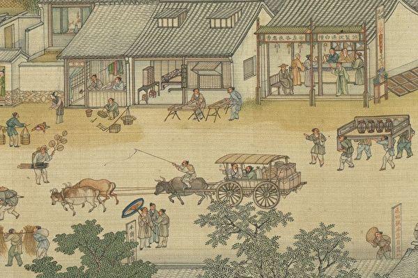 Фрагмент картины «По реке в день поминовения усопших», династия Цин