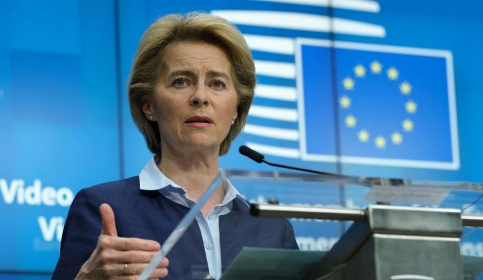 Председатель Европейской комиссии Урсула фон дер Ляйен на пресс-конференции после саммита ЕС