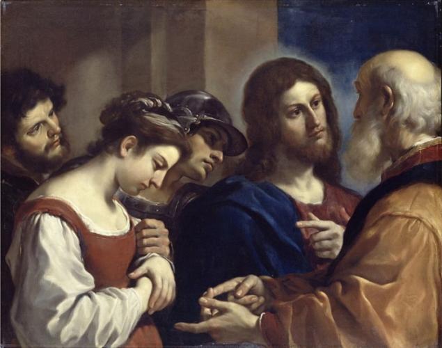 Женщина, взятая в прелюбодеянии, Гверчино, 1621, Картинная галерея Далвича