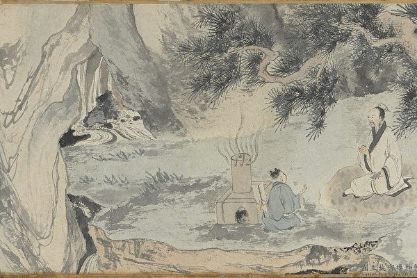 Фрагмент картины «Изготовление чудодейственного лекарства», Тан Инь, династия Мин