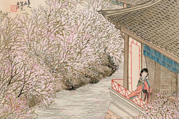 «Откинув занавеску, любоваться весенними цветами», Жэнь Сюн, династия Цин.