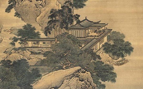 Фрагмент картины «Палаты посреди реки и гор», династия Цин