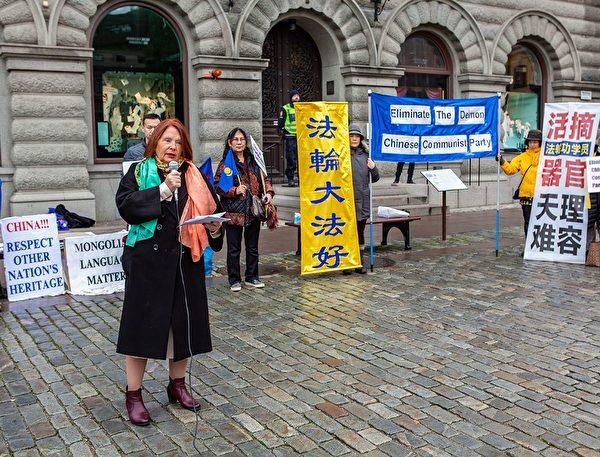 Лотта Йонссон Форнарве, член парламента от «Левой партии», на митинге