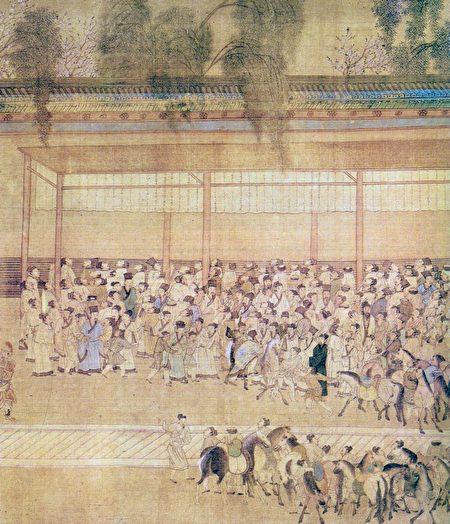 Фрагмент картины «Рассматривая списки выдержавших экзамен», Цю Ин, династия Мин