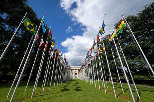 Флаги у офиса Организации Объединенных Наций (ООН) в Женеве