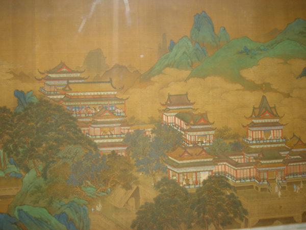На картине династии Мин изображены изысканные и сияющие дворцовые палаты из прекрасного нефрита