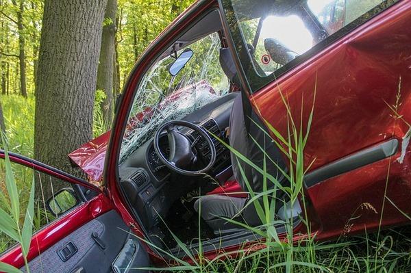 Врезавшаяся в дерево машина